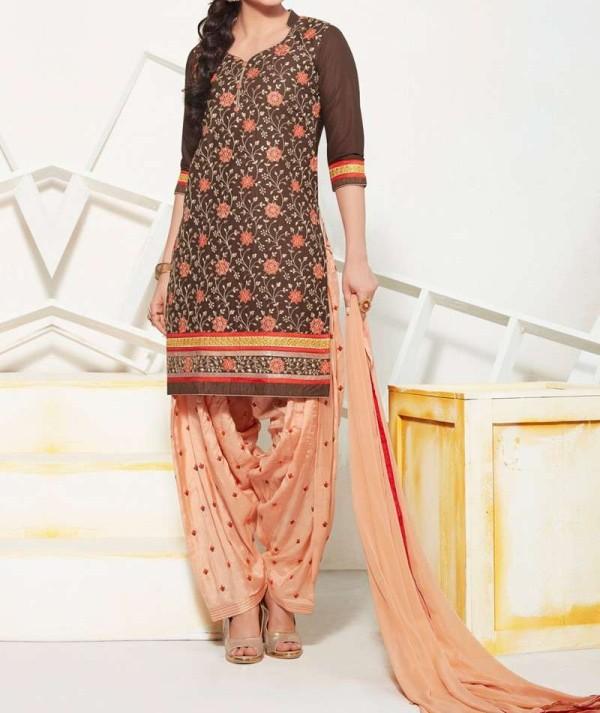 Brown Ethnic Patiala Suit