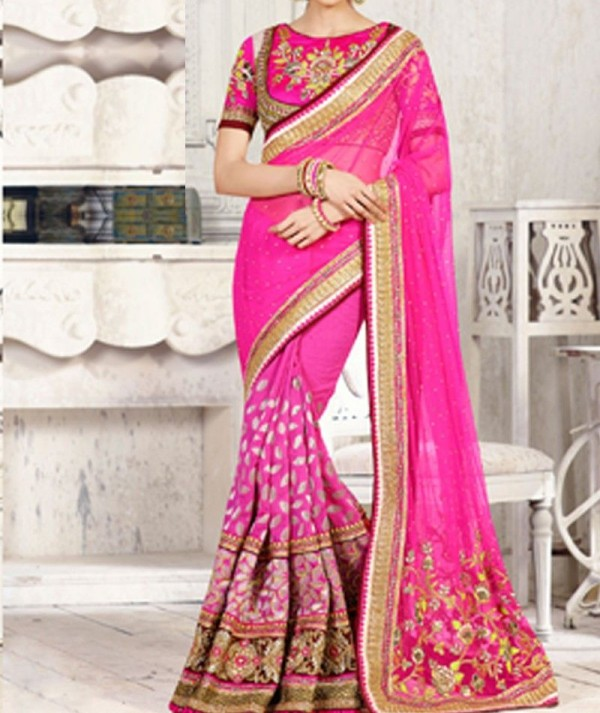 Fuchsia Half And Half Saree