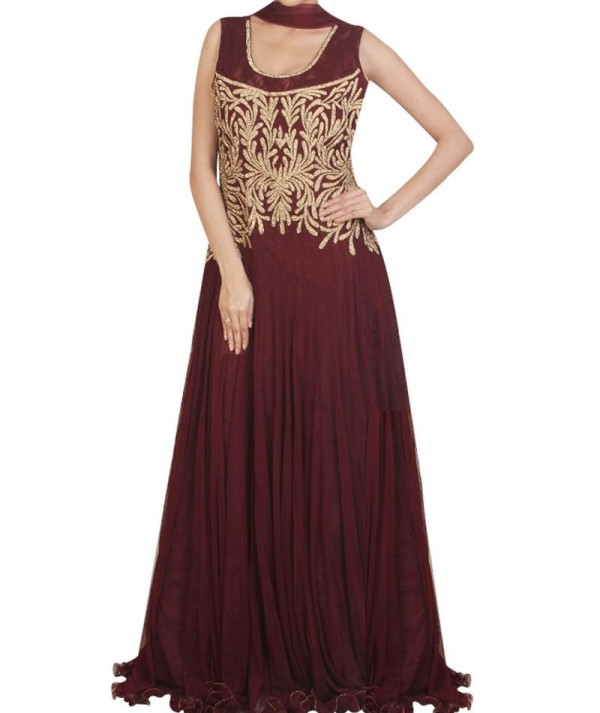 Maroon Zari Worked Fancy Gown
