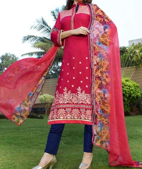Deep Pink Cotton Unstitch Salwar Suit