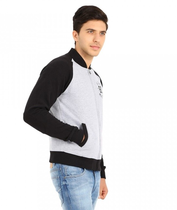Men's Full Sleeve Grey Fleece Front Zipper Sweatshirt With Black Sleeve