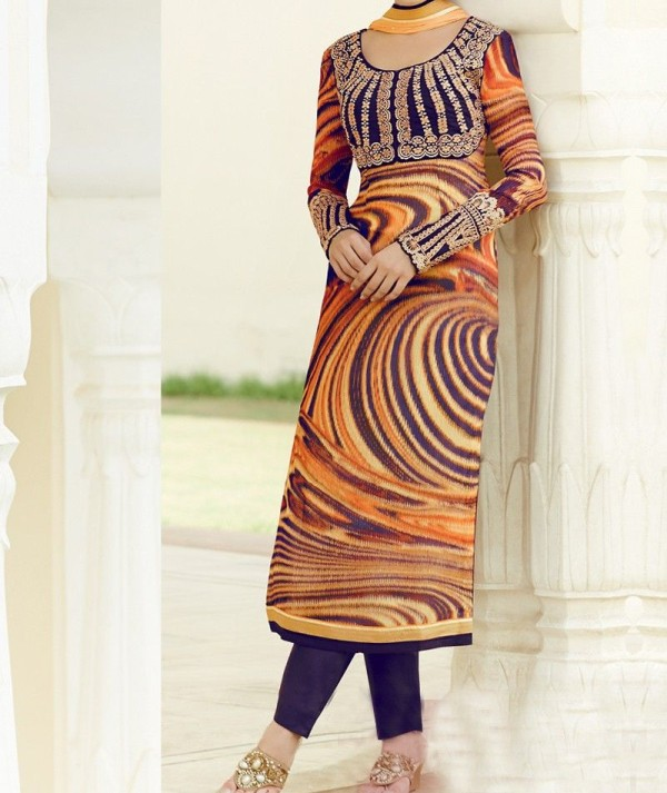 Designer Striped Straight Cut Salwar Suit