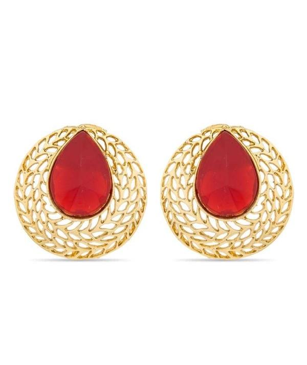 Red & Gold Brass Earrings
