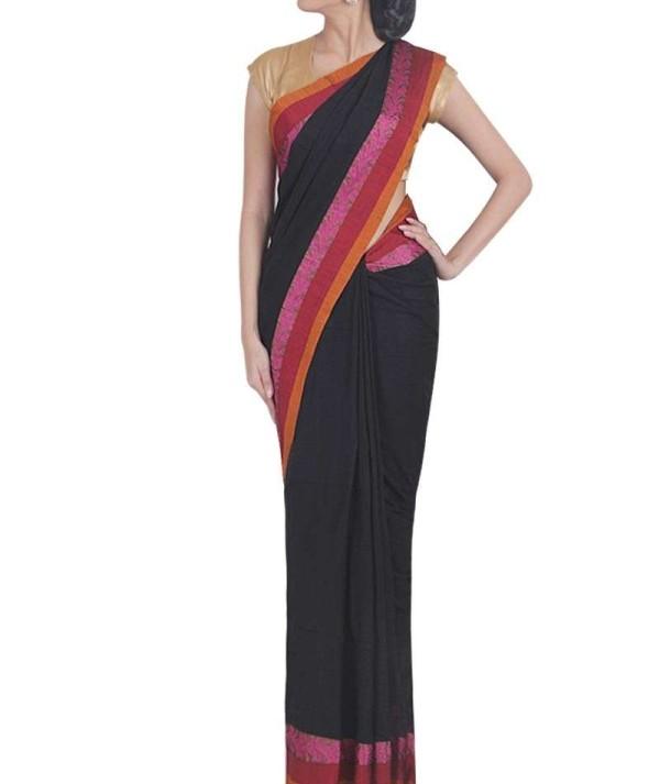 Black & Pink Handloom Saree