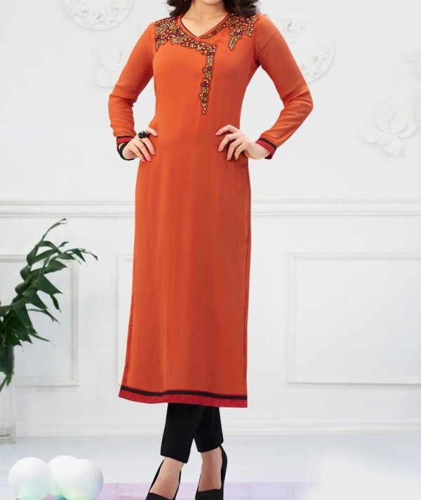 Light Brown Embroidered Kurti