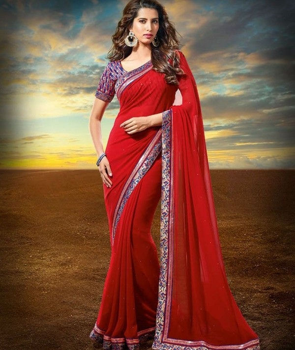 Red Dilwale Saree For Party