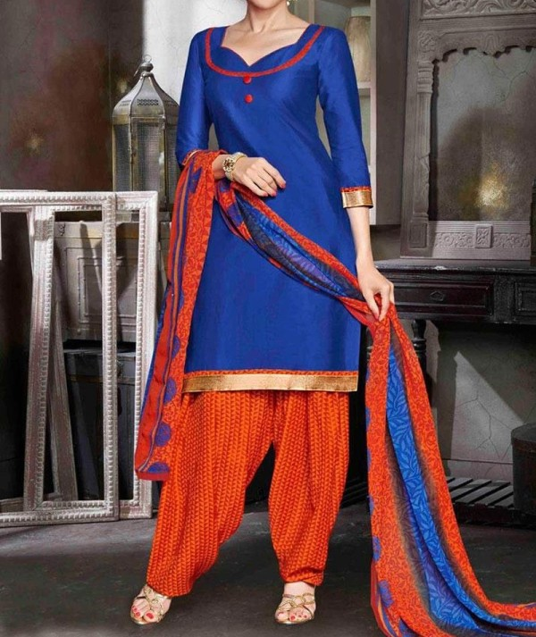 Classic Crepe Blue & Orange Patiala Suit