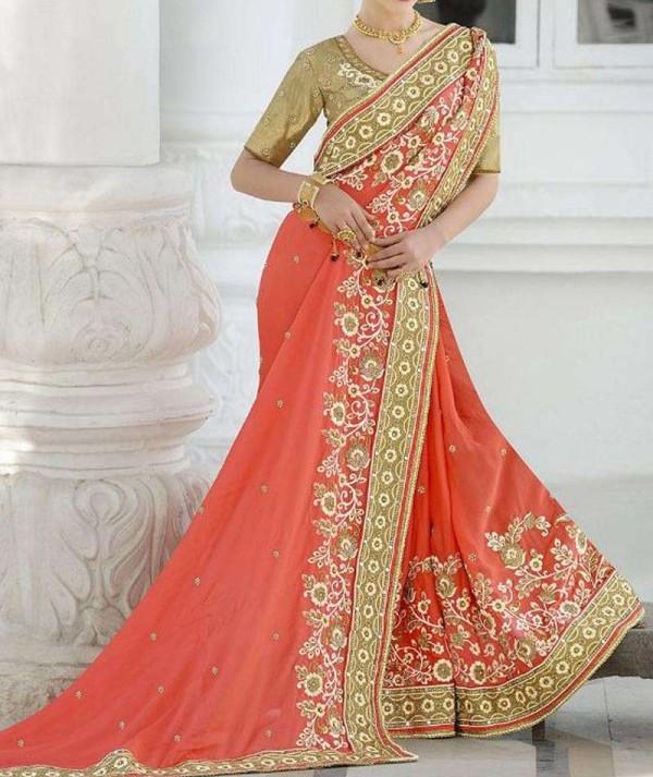 Peach Coloured Bridal Wear Saree