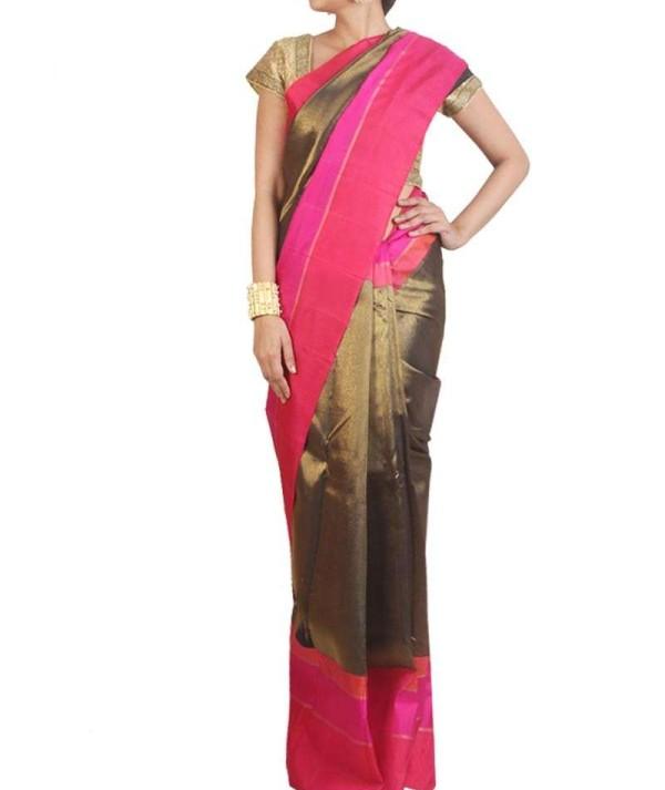 Golden And Pink Wedding Kanjivaram Saree