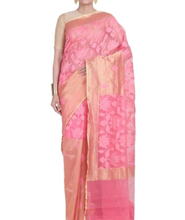 Pink Colour Wedding Saree