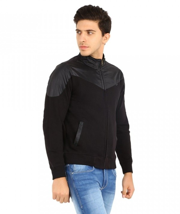 Men's Full Sleeve Black Dual Color Hooded Sweatshirt
