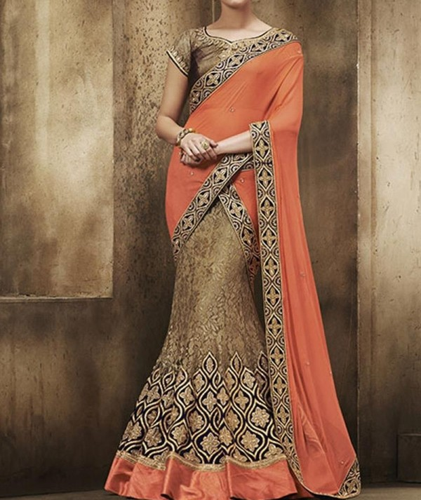 Beige Embroidered Lehenga Saree