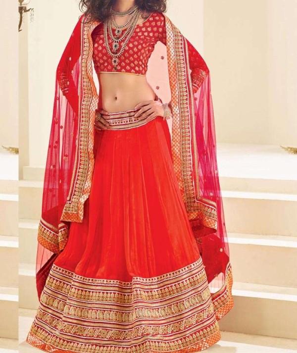 Red Banarasi Brocade Lehenga