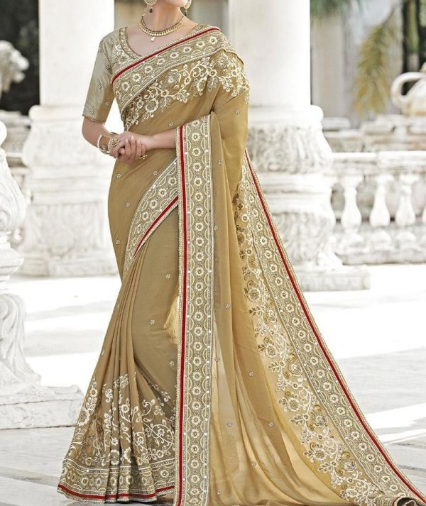 Beige Coloured Designer Saree