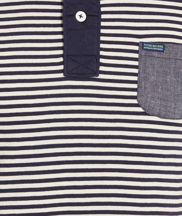 Striped Polo With Chambray Patch Pocket