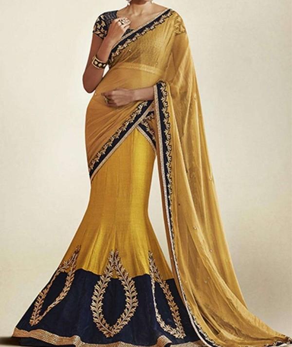 Mixed Fabric Yellow Lehenga Saree