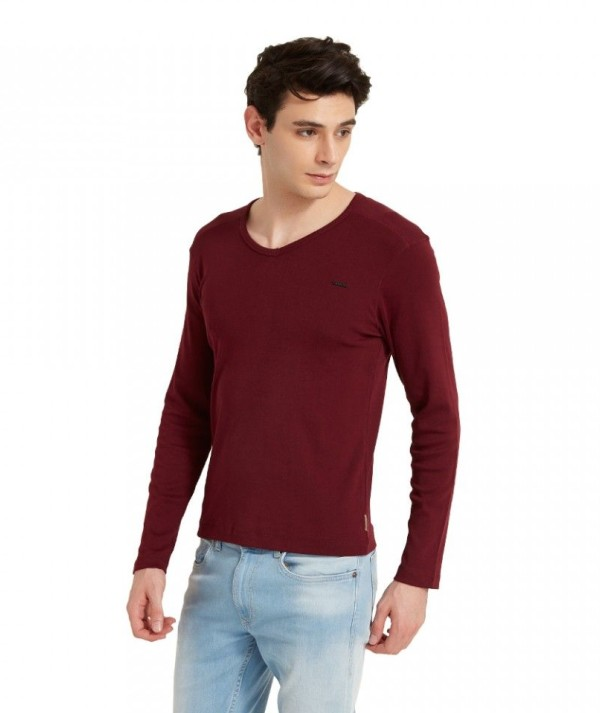 Wine Solid Color Long Sleeve Men's Tee