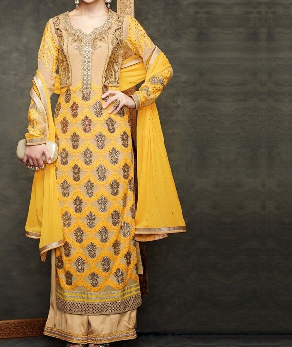 Yellow Palazoo Salwar Suit