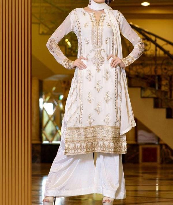 A Line Off White Faux  Georgette Suit