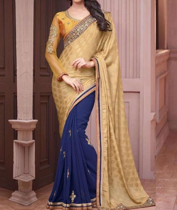 Half & Half Blue & Golden Saree