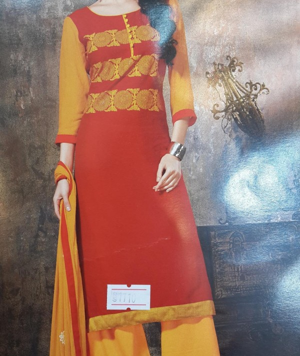 Red & Yellow Parallel Salwar