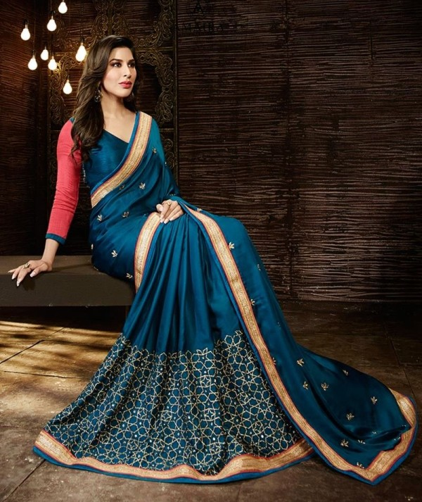Dark Blue Colour Satin Saree