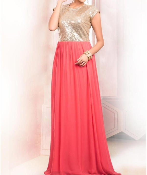Peach Indo Western Party Gown