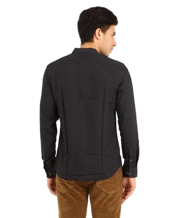 Men's Full Sleeve Nehru Collar Geo Print Black Shirt