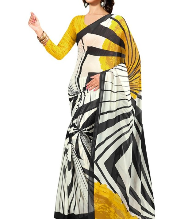 Yellow And Off White Saree