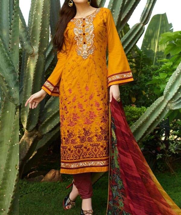 Mustard Cotton Unstitch Salwar Suit