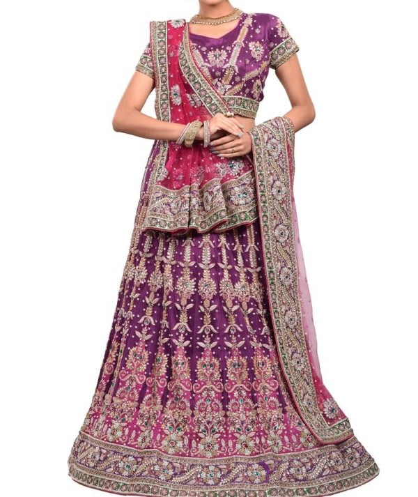 Purple Net Bridal Lehenga