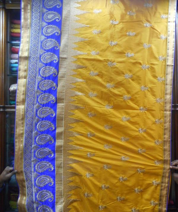 Women Silk Saree Yellow & Blue