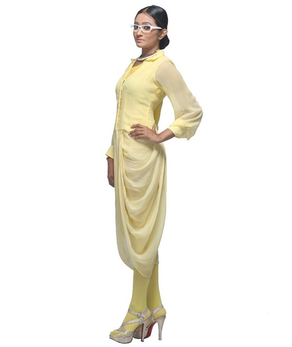 Yellow Draped Saree
