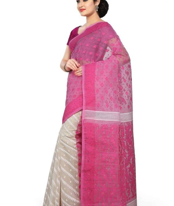 Jamdani Half Half Handloom Saree