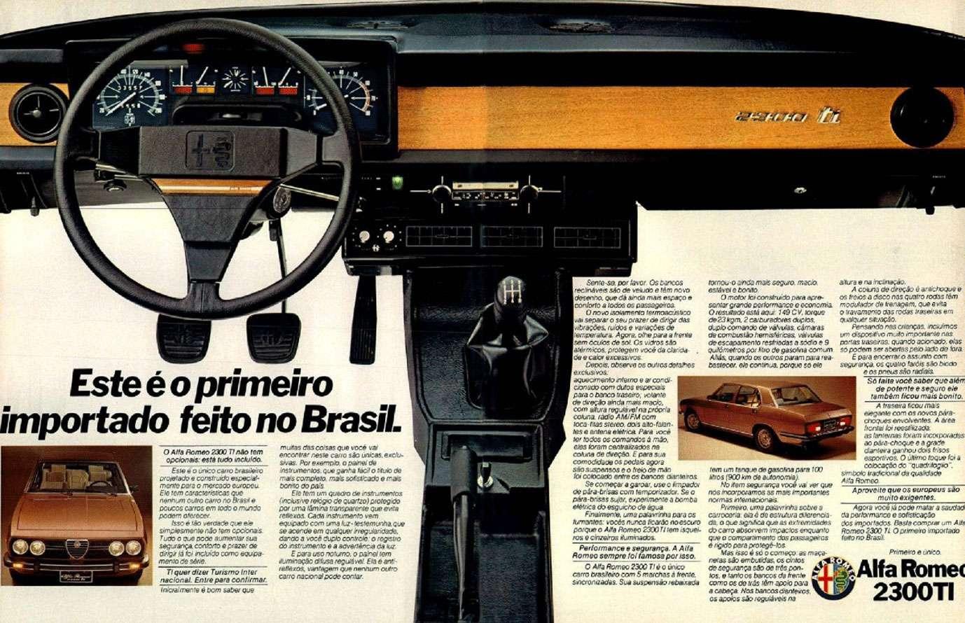 Alfa Romeo 2300 TI. Este é o primeiro importado feito no Brasil.