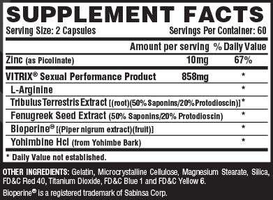 Vitrix Supplement Facts