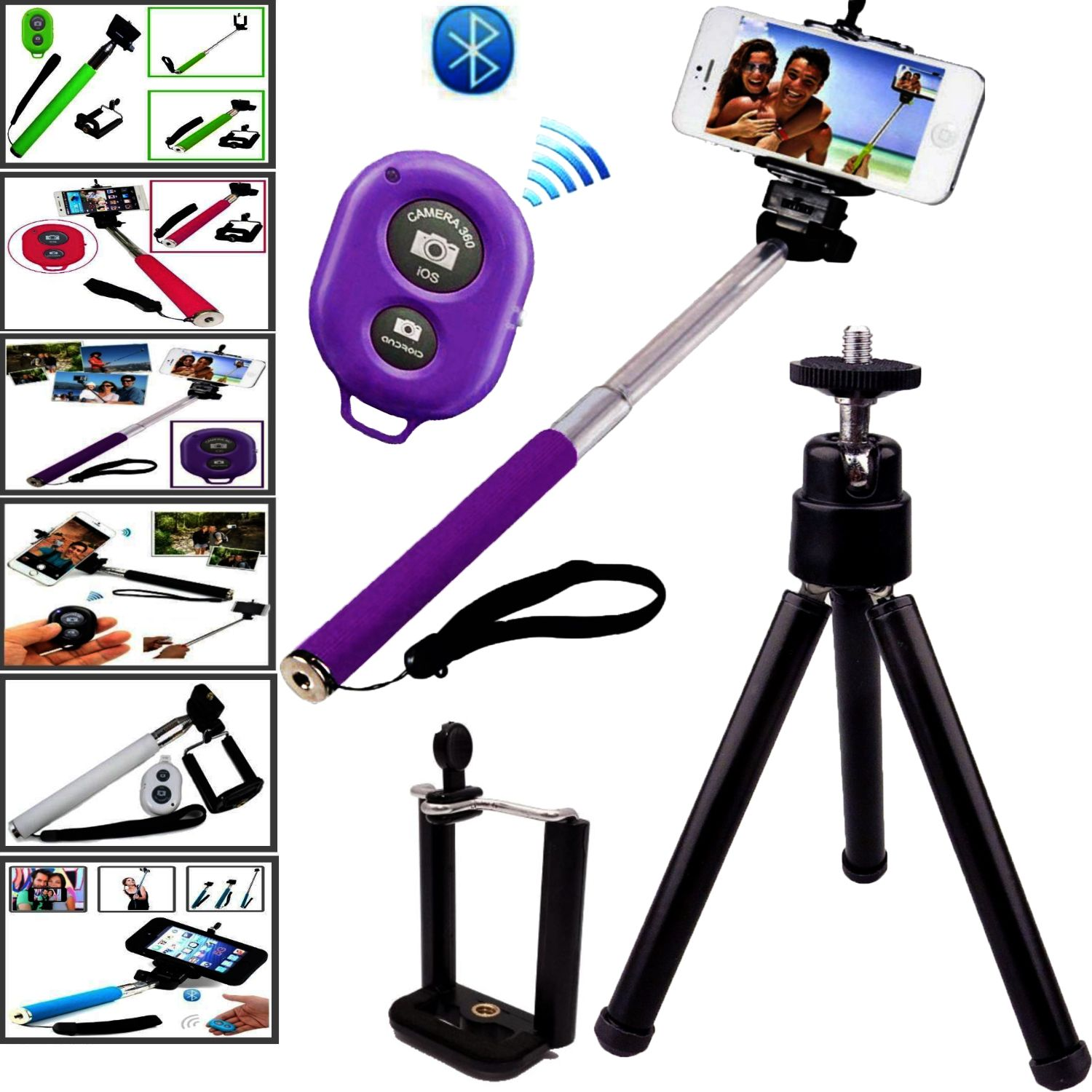 neu selfie stick monopod selbstausloser griff knopf stativ fur neu handys. Black Bedroom Furniture Sets. Home Design Ideas