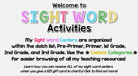 Sight Word Activities Teaching Resources | Teachers Pay Teachers