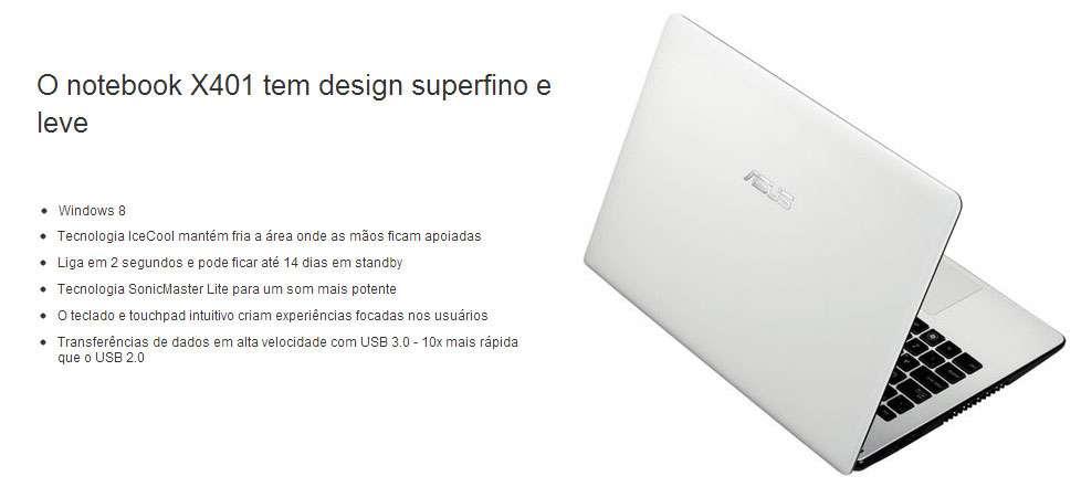 Ultrafino Asus X401U-WX116H - Tela 14