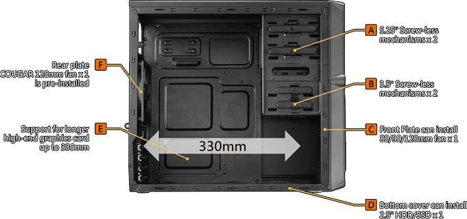Gabinete Cougar MG100 - USB 3.0 - Preto - 5SS8