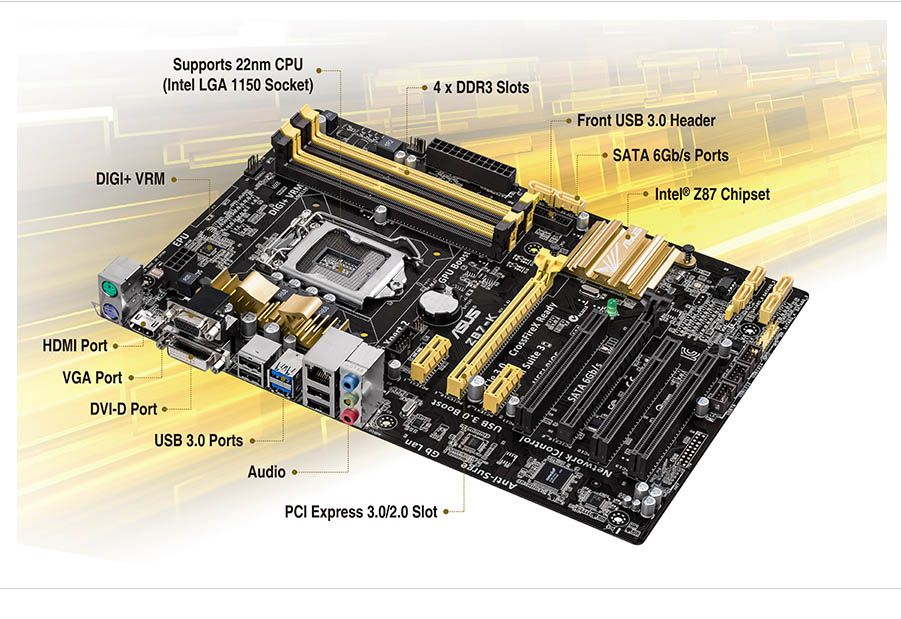 Asus Z87-K (LGA 1150 - DDR3 1600) Chipset Intel Z8