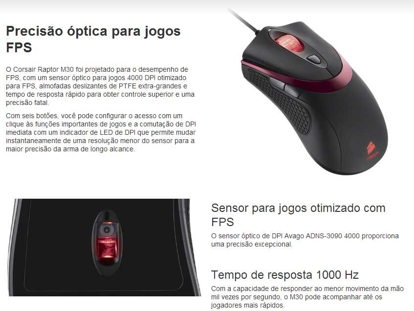 Mouse Corsair Gaming Raptor M30 - 4000dpi - CH-900