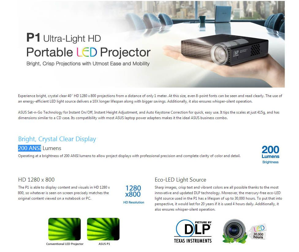 Projetor Asus P1 Ultra-light HD LED - 200 ANSI Lum