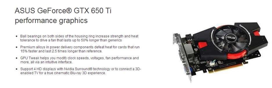 GeForce GTX 650Ti 1GB GDDR5 128bits - DVI/HDMI/VGA