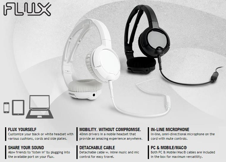 Headset SteelSeries Flux White - para PC e Mobile/