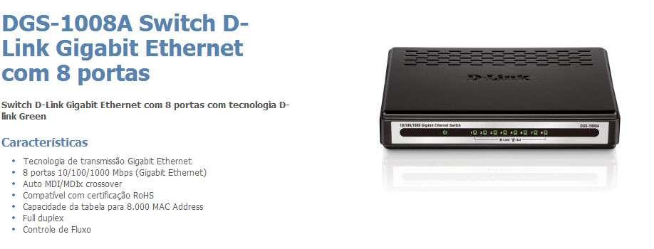 Switch 8p D-Link DGS-1008A 10/100/1000Mbps - Gigab