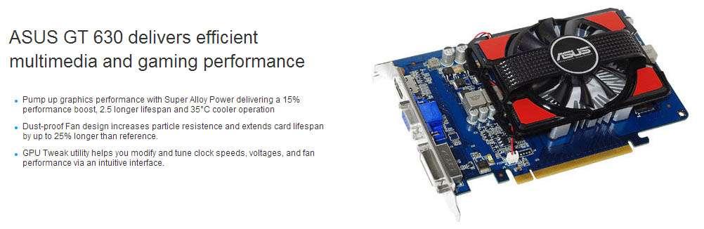 GeForce GT 630 2GB GDDR3 128bits - HDMI/DVI/VGA -