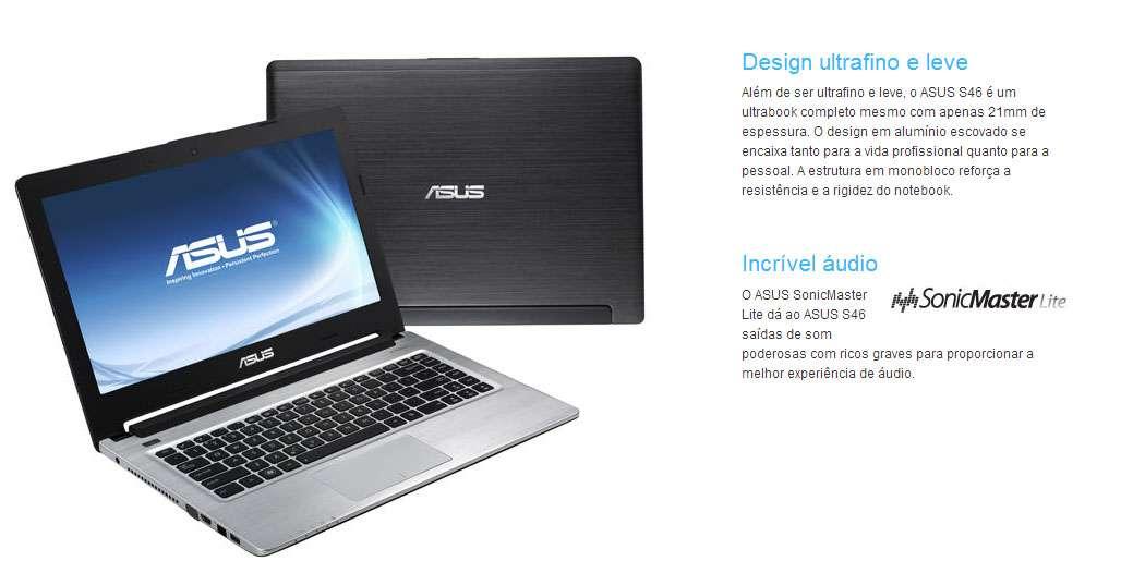 Ultrabook Asus S46CA-WX056H - Tela 14