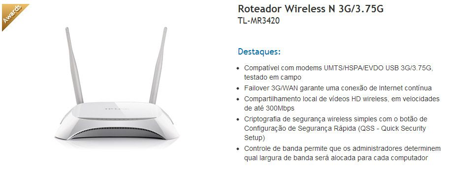 Roteador Wireless 3G TP-Link TL-MR3420 - 300Mbps -