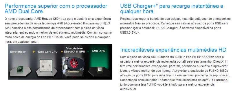 NetBook Asus Eee PC 1015BX - Tela 10.1